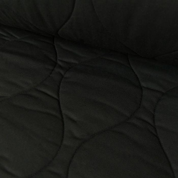 Tissu coton matelassé - noir x 10 cm