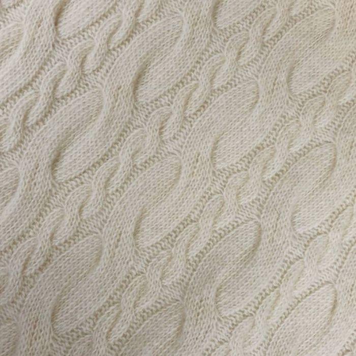 Tissu maille tricot - écru x 10 cm