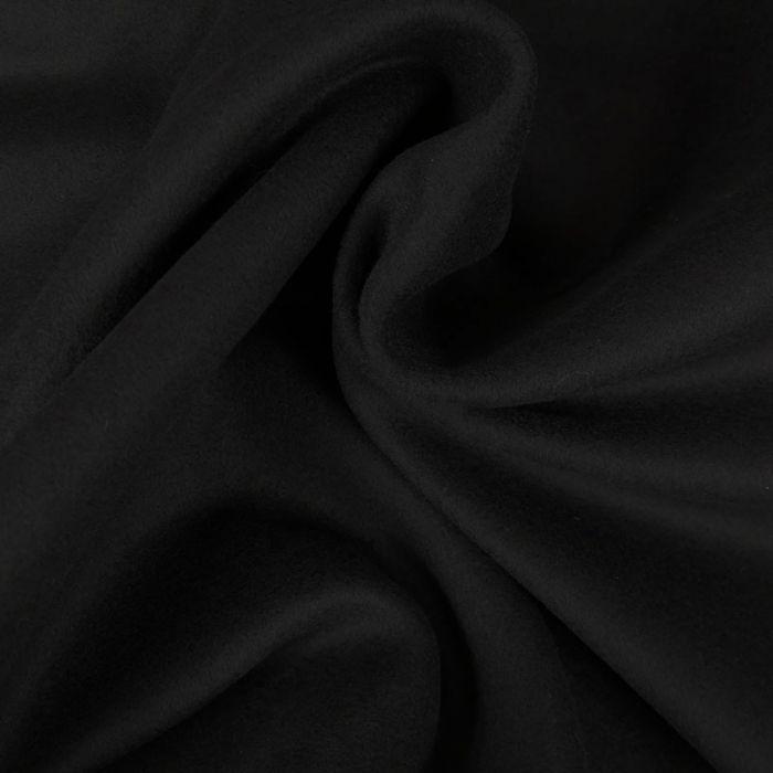 Tissu lainage cachemire caban - noir x 10 cm