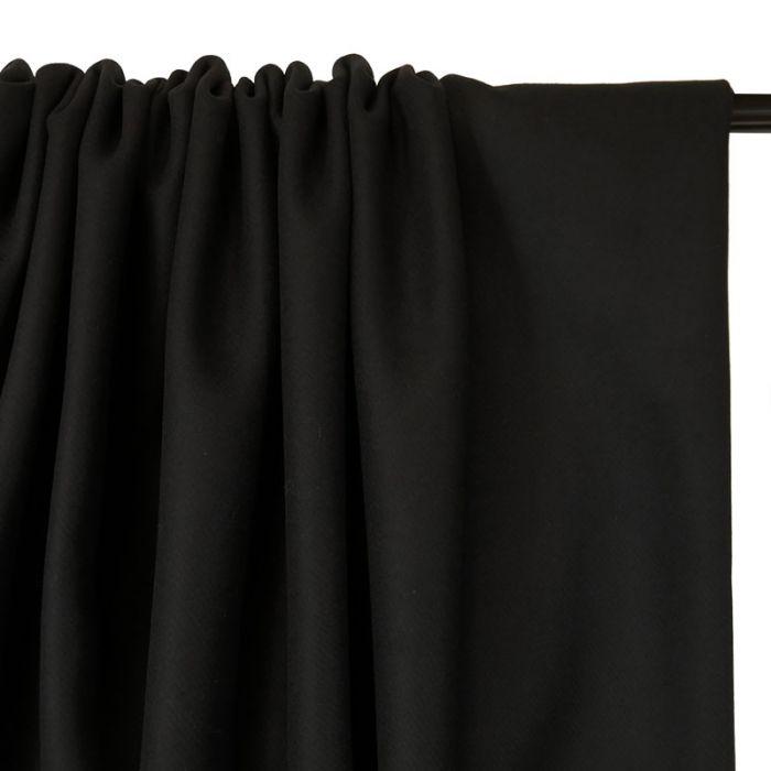 Tissu lainage cachemire sergé - noir x 10 cm