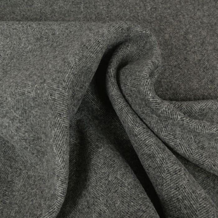 Tissu lainage chevrons - gris clair x 10 cm