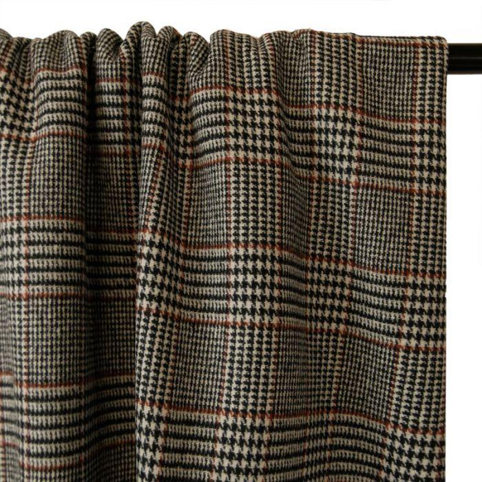Tissu lainage double Prince de Galles - camel x 10 cm