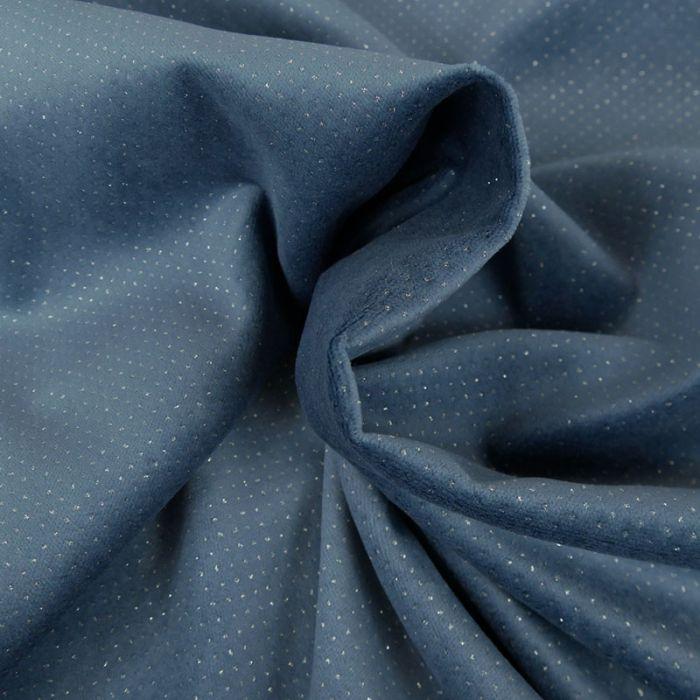 Tissu velours glitter - bleu x 10 cm