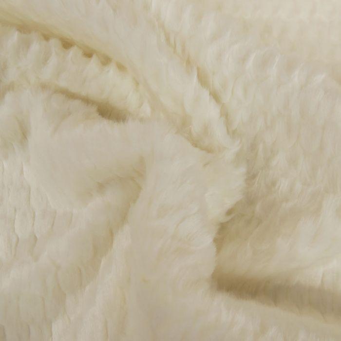Tissu fausse fourrure texturé - blanc x 10 cm