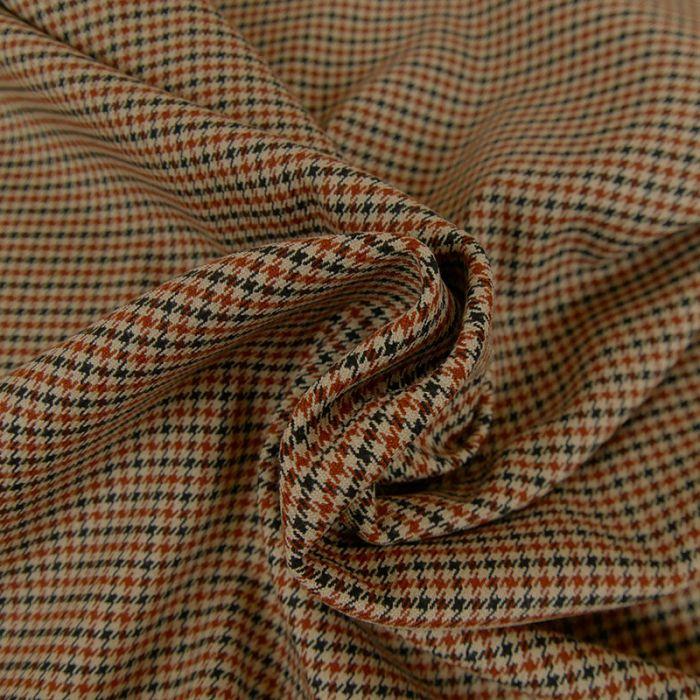 Tissu polyviscose pied de poule - camel x 10 cm
