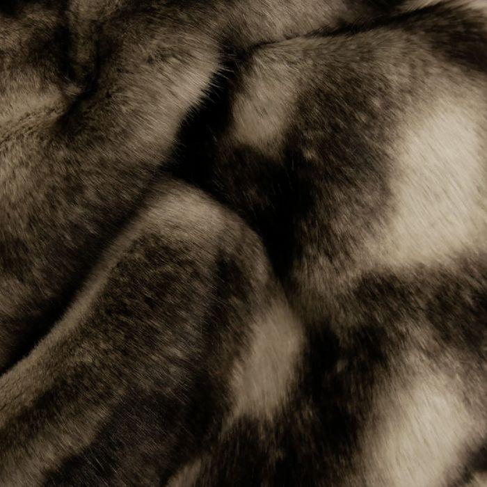 Tissu fausse fourrure marron - noir x 10 cm