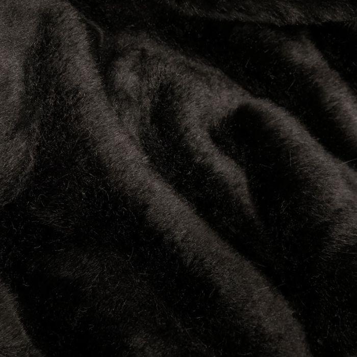 Tissu fausse fourrure - noir x 10 cm