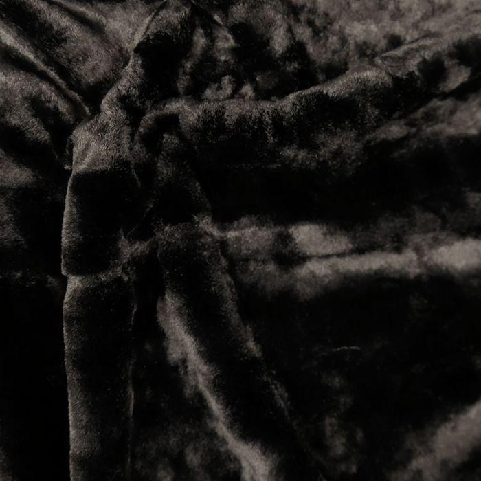 Tissu fausse fourrure Haute Couture - noir x 10 cm