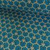 Tissu Cretonne Hexagone - Bleu turquoise x 10 cm