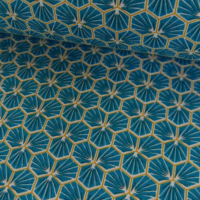 Tissu Cretonne Hexagone - canard x 10 cm