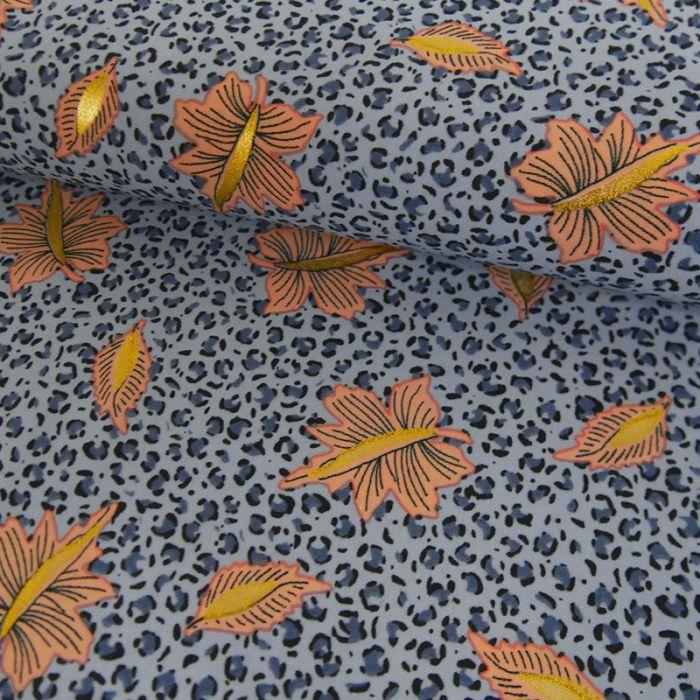 Tissu polyester léopard feuilles glitters - bleu x 10 cm