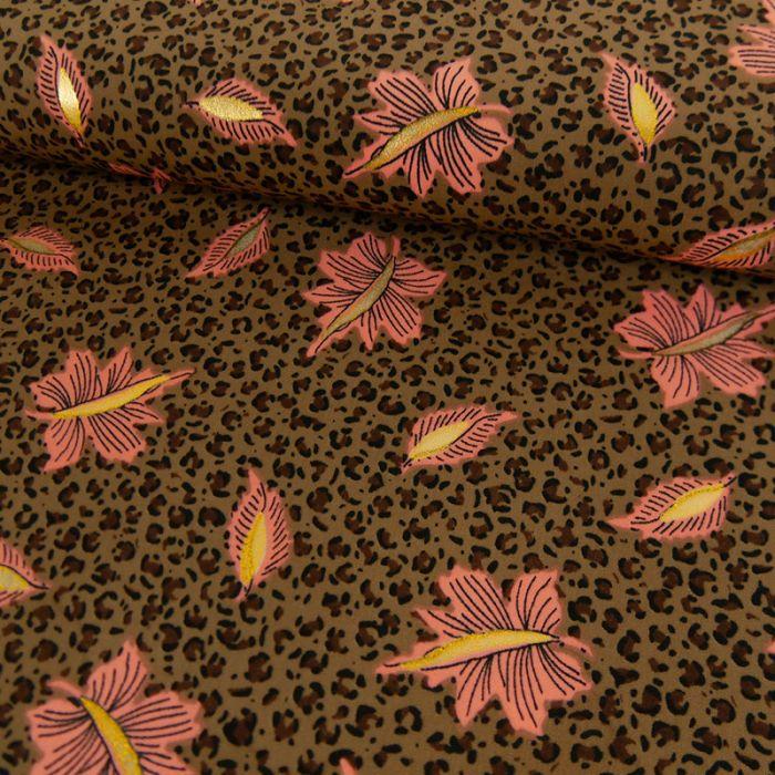 Tissu polyester léopard feuilles glitters - marron x 10 cm