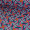 Tissu cretonne tourbillons rose - bleu x 10 cm