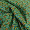 Tissu cretonne tourbillons jaune - bleu x 10 cm