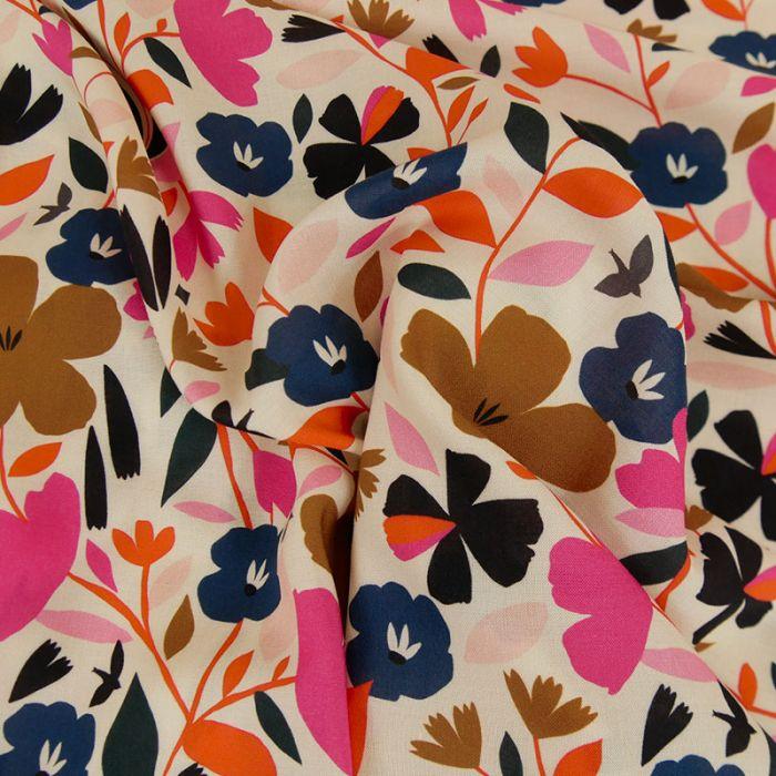 Tissu rayonne fleurs Dashwood - écru x 10 cm