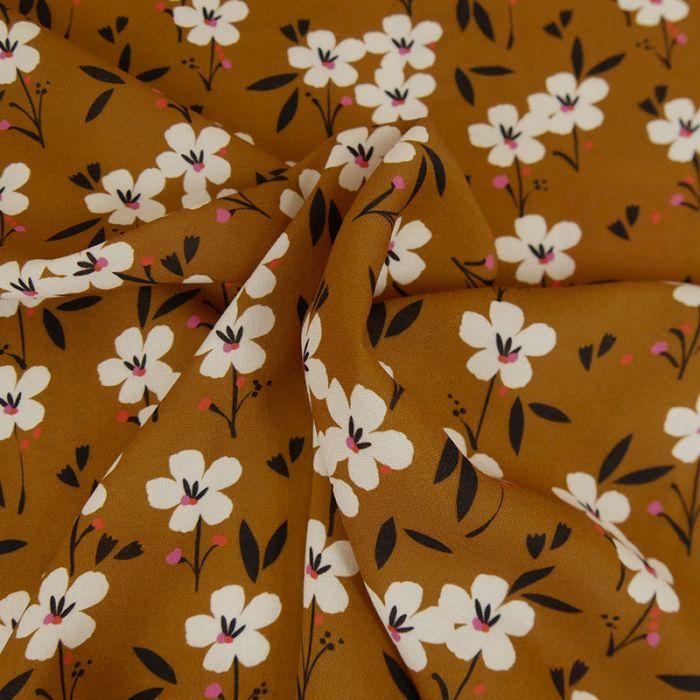 Tissu rayonne fleurs Dashwood - marron x 10 cm