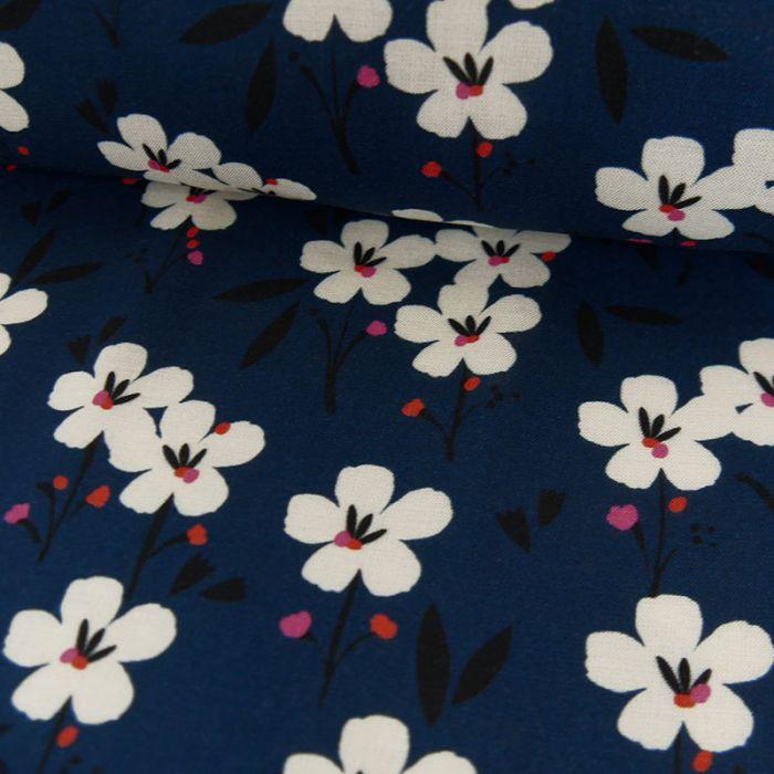 Tissu rayonne fleurs Dashwood - bleu marine x 10 cm
