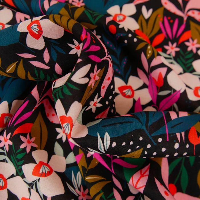 Tissu rayonne fleurs Dashwood - noir x 10 cm