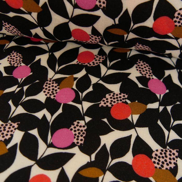 Tissu rayonne fleurs Dashwood noir - écru x 10 cm