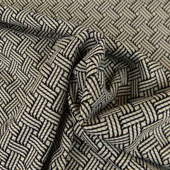 Tissu géométrique noir lurex - blanc cassé x 10 cm