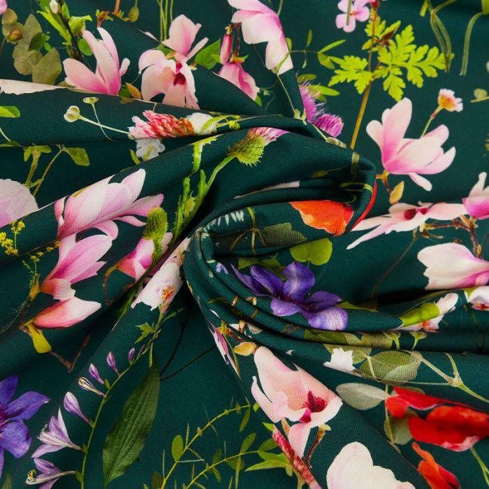 Tissu jersey fleurs - vert foncé x 10 cm