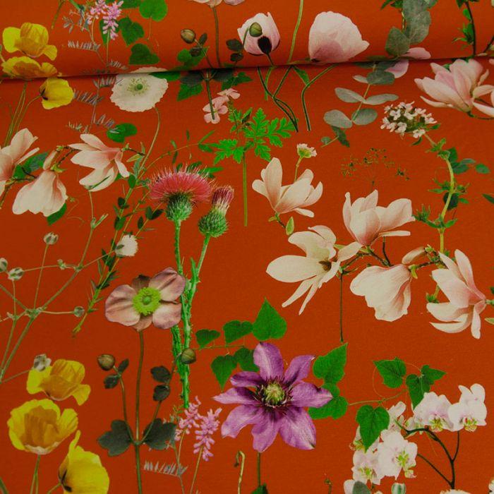 Tissu jersey fleurs - brique x 10 cm