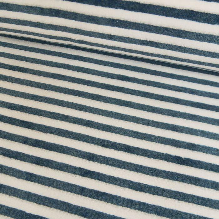 Tissu jersey pilou rayures bleues - blanc x 10 cm
