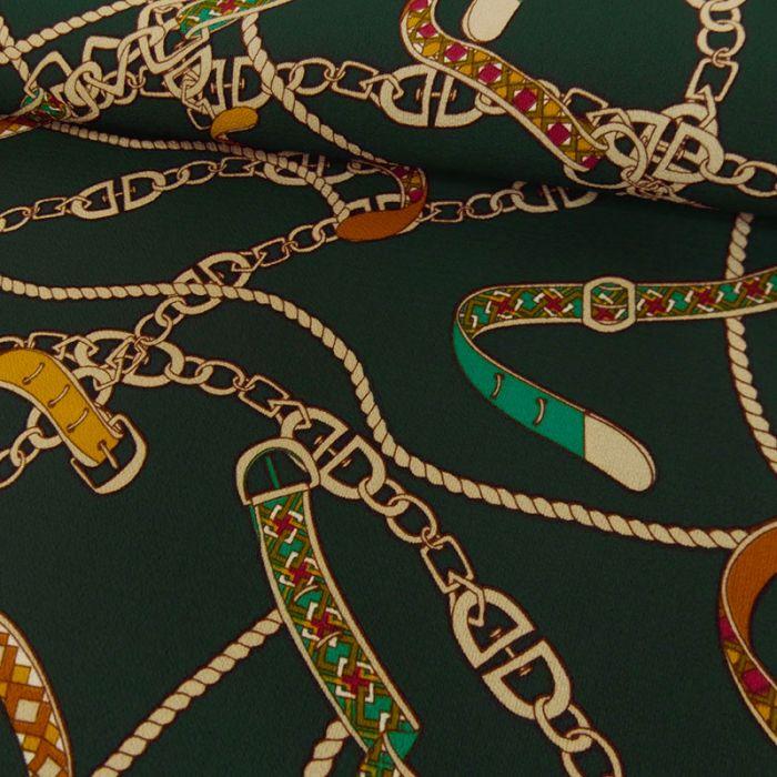 Tissu crêpe bubble chaînes - vert x 10 cm