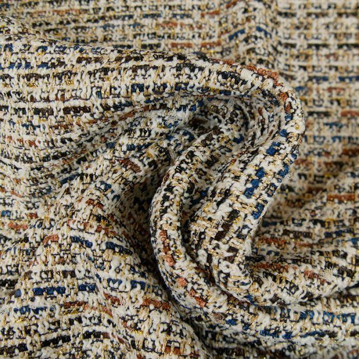 Tissu tweed or marron - blanc cassé x 10 cm