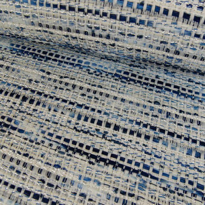 Tissu tweed bleu - blanc x 10 cm