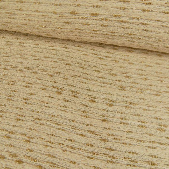 Tissu tweed or - écru x 10 cm