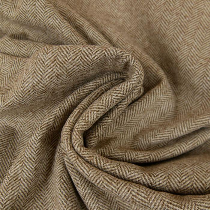 Tissu chevrons stretch - marron x 10 cm