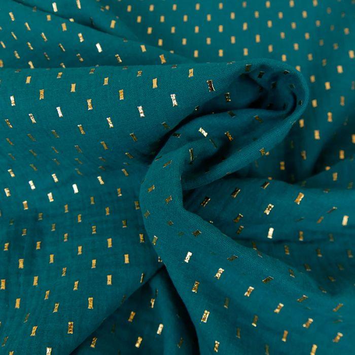 Tissu double gaze confettis or - canard x 10cm