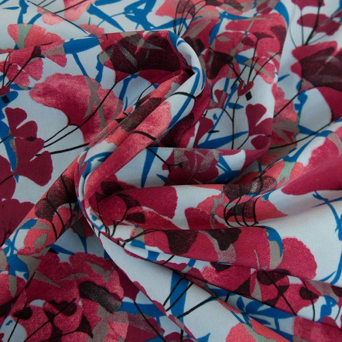 Tissu pearl peach fleurs - rouge x 10 cm