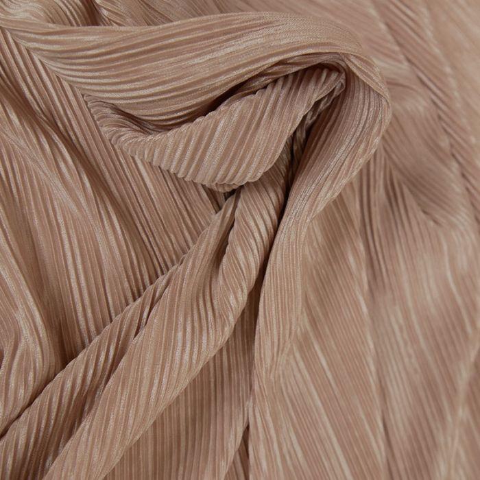Tissu plissé - rose nude paillettes x 10 cm