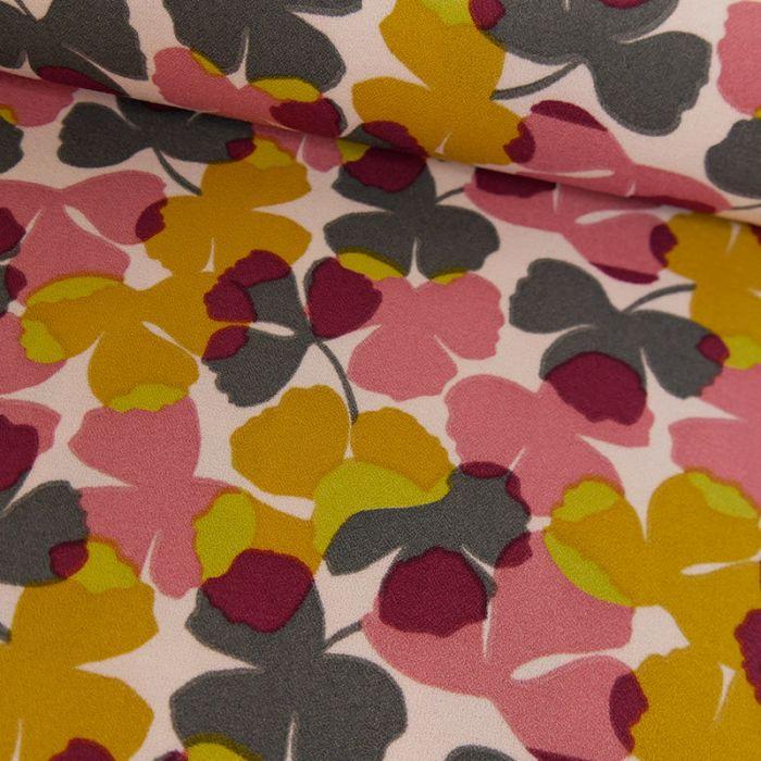 Tissu crêpe feuilles jaunes - rose x 10 cm