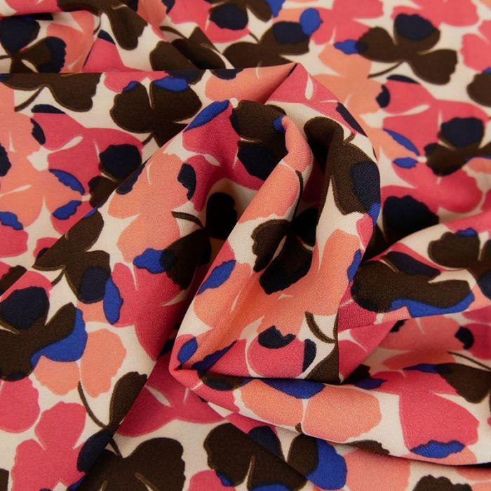 Tissu crêpe feuilles marron - saumon x 10 cm