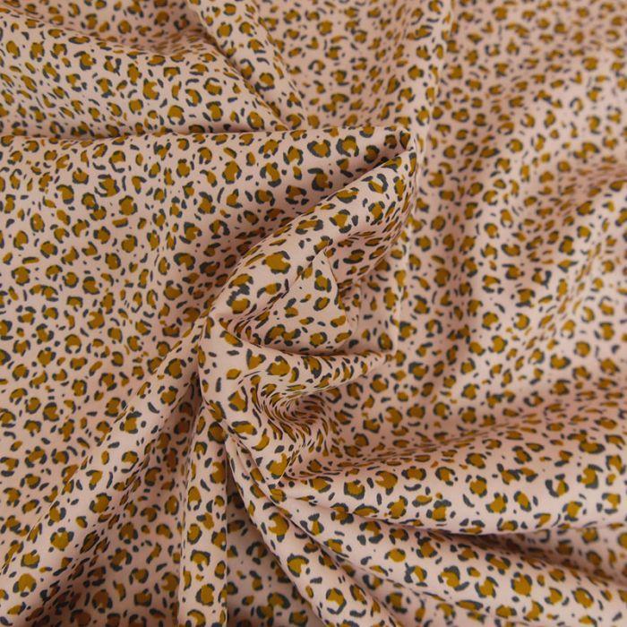 Tissu satin léopard - rose poudre x 10 cm