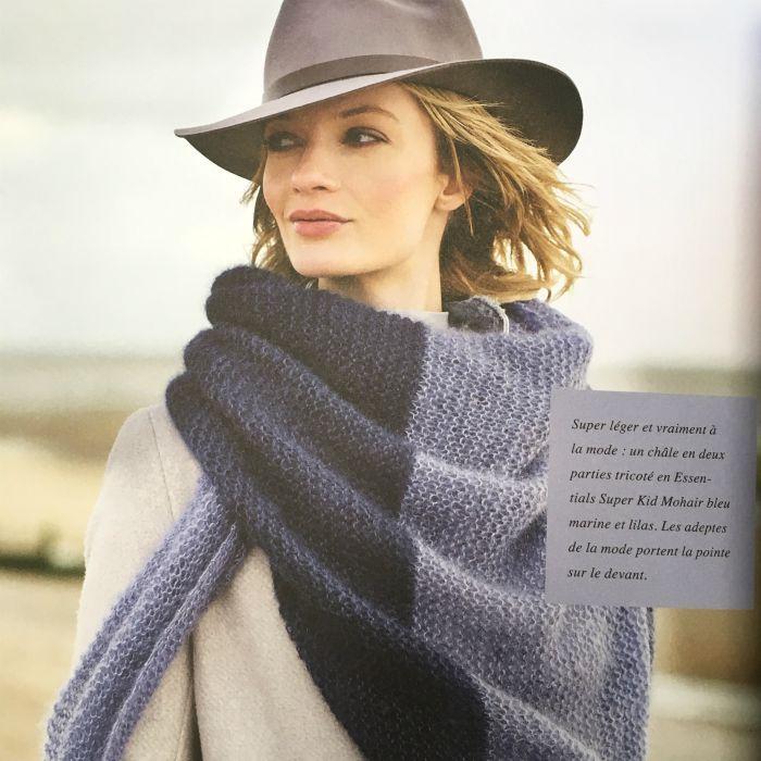 Kit tricot : châle bicolore en mohair - Rico design