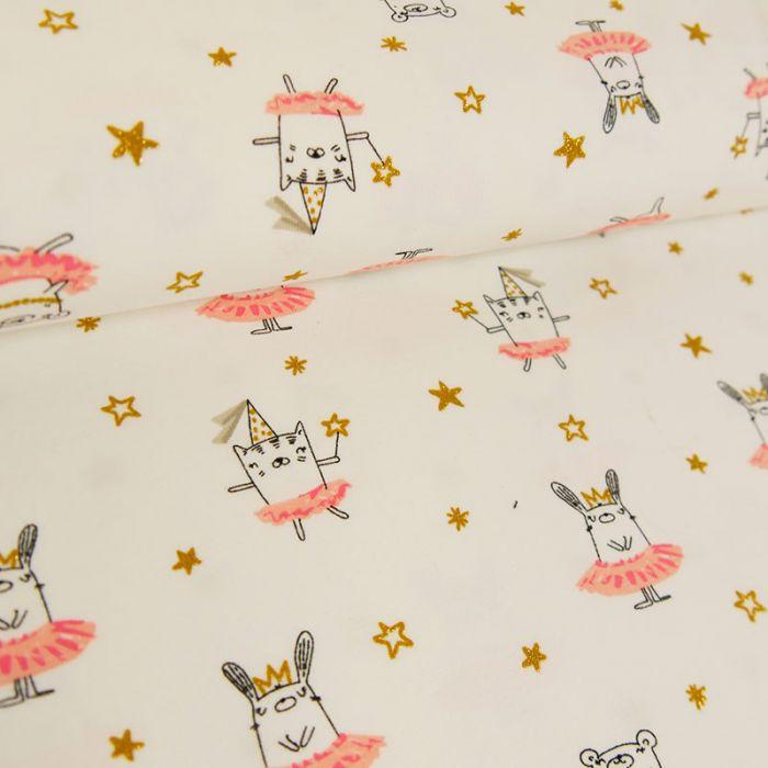 Tissu jersey fin lapins dorés écru - Poppy x 10 cm