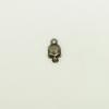 Breloque tête de mort 12mm bronze x1