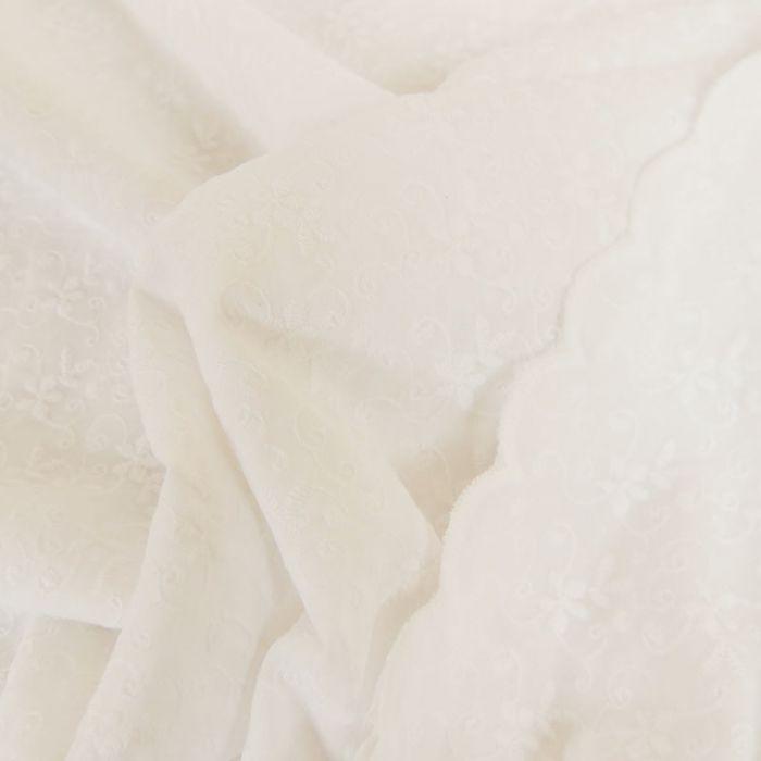 Tissu coton broderie anglaise fleurs - blanc x 10cm