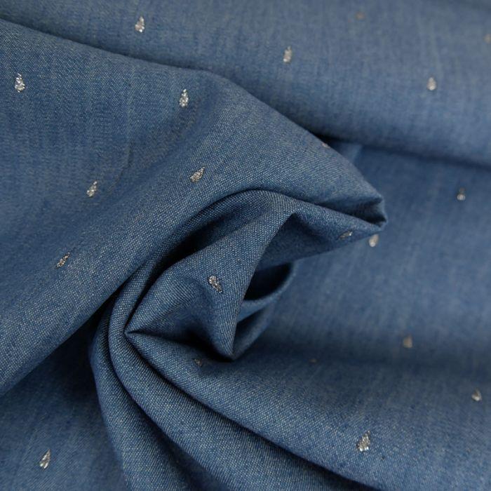 Tissu chambray gouttes glitter argenté - bleu jean x 10 cm