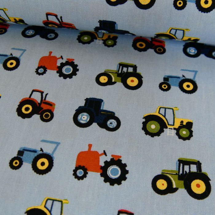 Tissu coton tracteurs bleu clair - Poppy x 10 cm