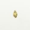 Breloque tête de mort 12mm dorée x1