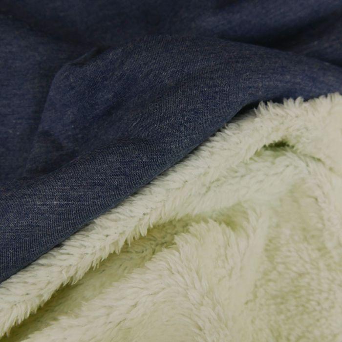 Tissu sweat envers fourrure mouton - bleu foncé x 10 cm