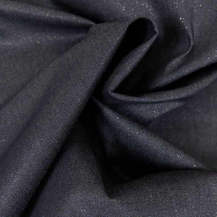 Tissu jean denim élasthanne pailleté - bleu foncé x 10 cm