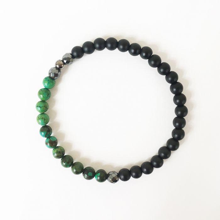 Kit : Bracelet pierre volcanique, turquoise et hématite
