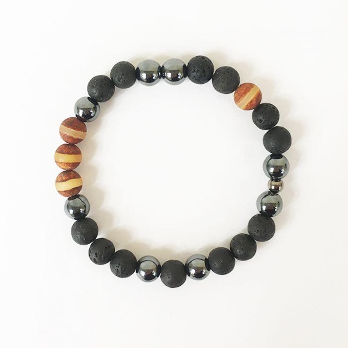 Kit : Bracelet hématite, pierre volcanique et jaspe