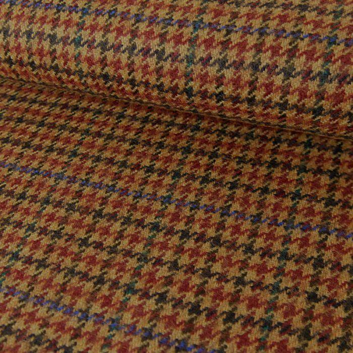 Coupon x 50 cm - Tissu lainage pied de poule brun cuivré